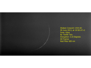 Photo of Crescent Moon for Sha'ban 1434 AH