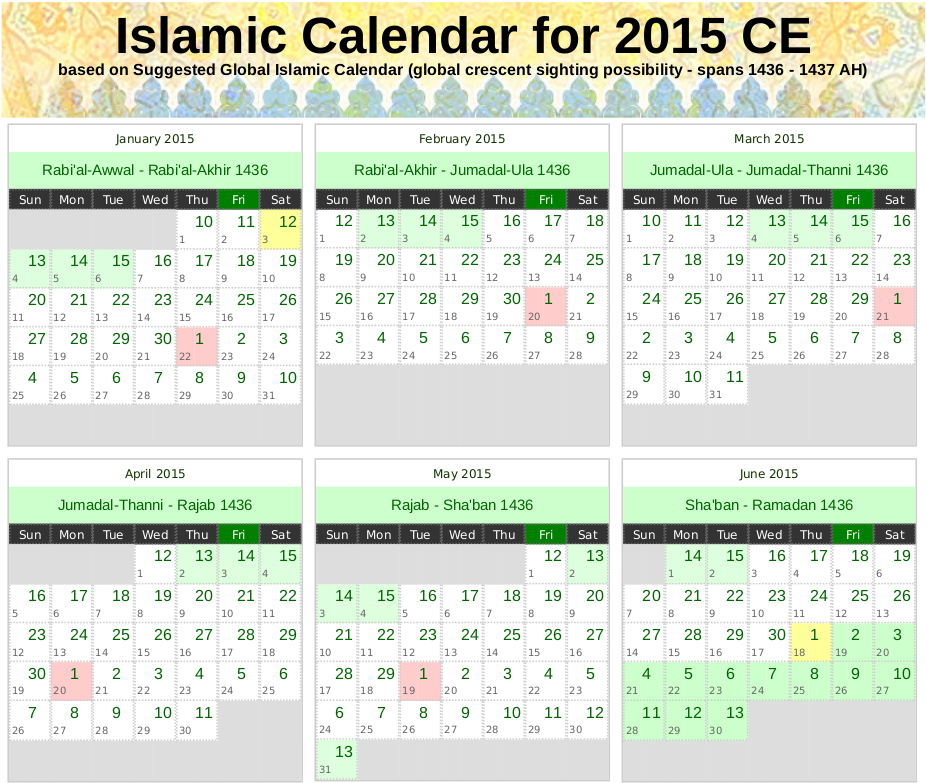 Islamic Calendar for 2015 CE (1436 – 1437 AH) | Alhabib's Blog