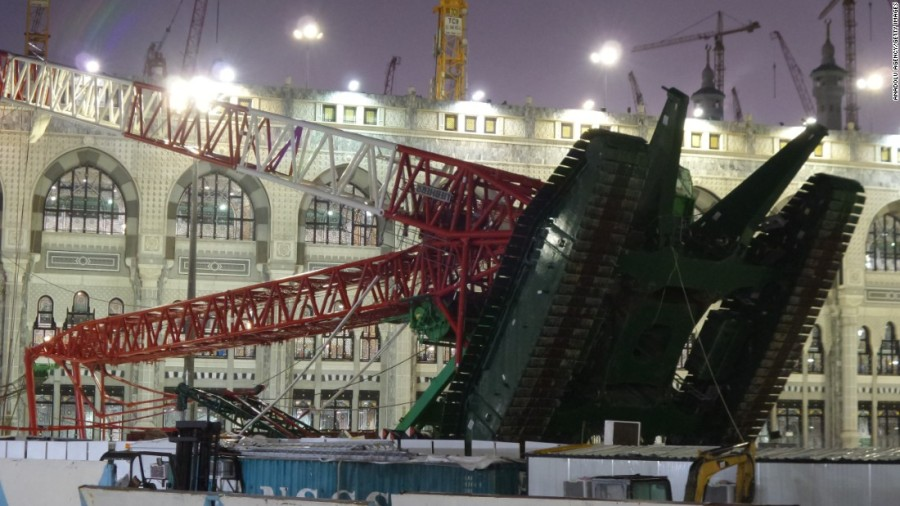 One crane among tens standing around the Holy Mosque in Makkah was toppled by gusty winds on Friday afternoon, 11 September 2015.