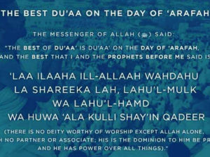 The Best Dua is on the day of Arafah