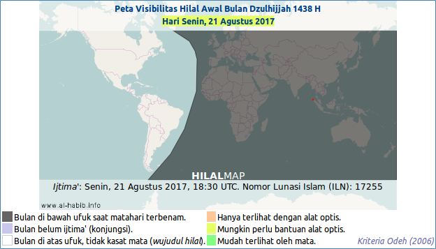 The crescent moon visibility map for Dhul-Hijja 1438 AH on Monday, 21 August 2017. The shaded area indicates that the moon will already set before the sunset that evening, thus will not be visible after maghrib time.
