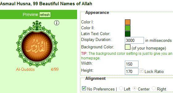 Layar halaman penyetelan widget islami alhabib.