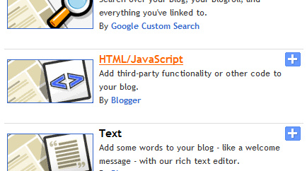 HTML/Javascript gadget in Blogspot list