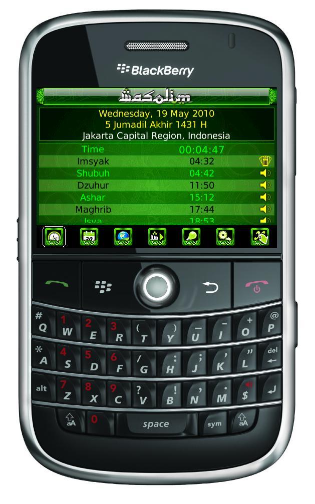 Wasolim, Muslim Prayer Times Application for Blackberry