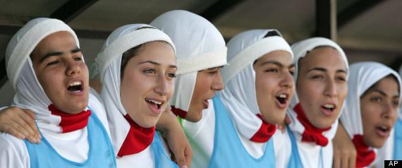 Iranian women soccer team wearing headscarves (hijab)