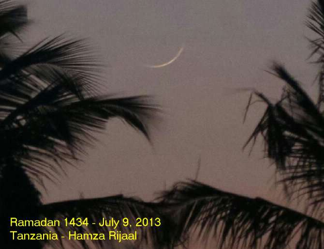 Foto Hilal Ramadhan 1434 H dari Tanzania, 9 Juli 2013.