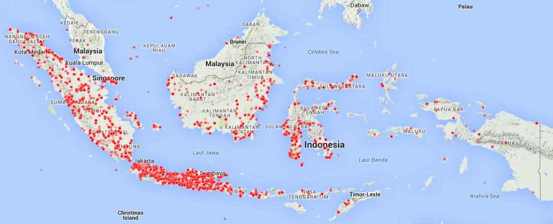 Peta unduhan PDF jadwal imsakiyah ramadhan 1435 H dari seluruh indonesia. Setiap titik merah merupakan tempat yang dicari jadwal imsakiyah ramadhannya oleh pengunjung. Puluhan ribu orang telah menunduh jadwal imsakiyah ramadhan dalam versi PDF dari situs Web Alhabib.
