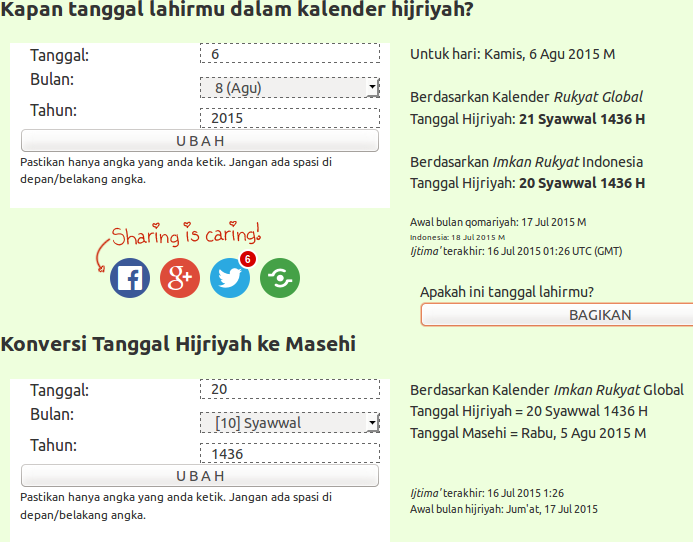 Screenshot atau tampilan halaman pengubah kalender masehi ke hijriyah dan sebaliknya di situs Alhabib.