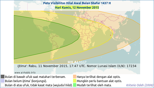 Crescent moon visibility map for Safar 1437 AH on the evening of Thursday, 12 November 2015. The regions shaded with green and yellow could see the crescent moon quite readily weather permits.