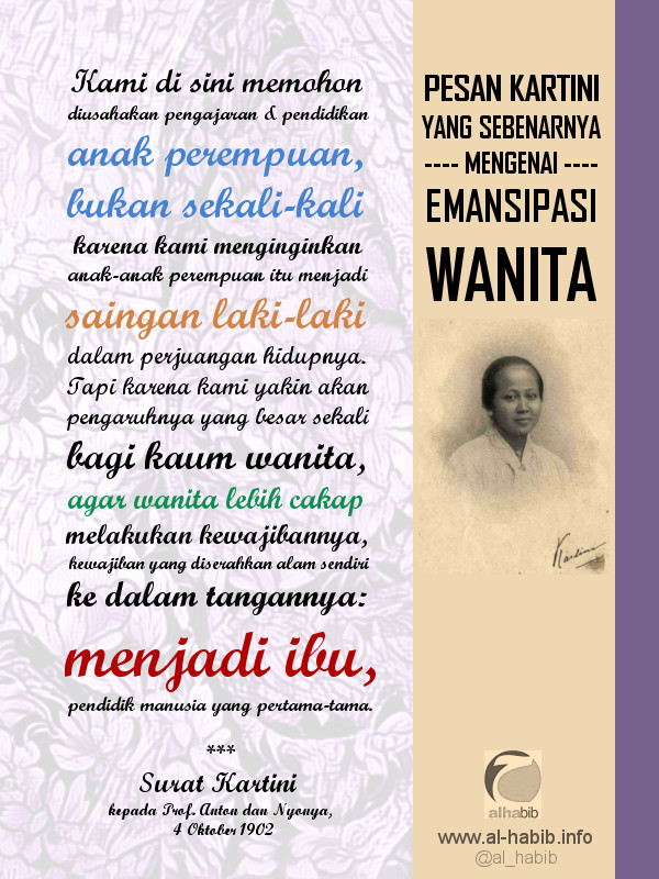 Pesan RA Kartini Sebenarnya Mengenai Emansipasi Wanita