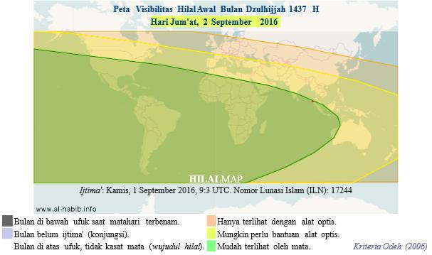 Peta visibilitas hilal Dzulhijjah 1437 H pada petang hari Jum'at, 2 September 2016. Hilal akan mudah terlihat di seluruh dunia. Maka, 1 Dzulhijjah 1437 H jatuh pada Sabtu, 3 September 2016. (HilalMap)
