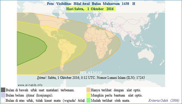 Prediksi keterlihatan Hilal Muharram 1438 H pada petang hari Sabtu, 1 Oktober 2016. Wilayah Amerika dan Samudera Pasifik di baratnya yang memiliki kesempatan melihat bulan sabit. (HilalMap)