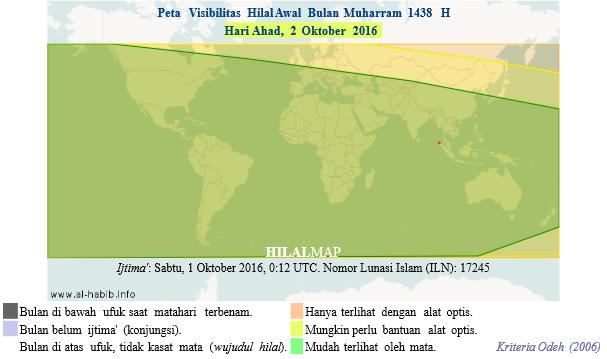 Pada hari Ahad, 2 Oktober 2016, bulan sabit awal Muharram 1438 H akan bisa dengan mudah terlihat oleh mata telanjang di seluruh dunia. (HilalMap)