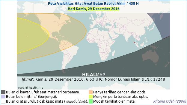 Peta terlihatnya hilal bulan Rabi'ul Akhir 1438 H pada petang hari Jum'at, 29 Desember 2016. Hanya wilayah Amerika Utara yang mungkin bisa menyaksikan bulan sabit.