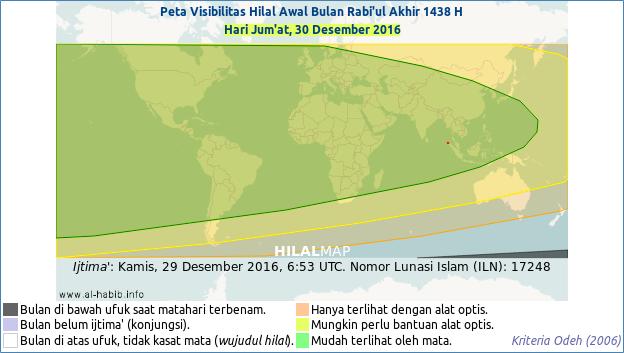 Peta terlihatnya hilal bulan Rabi'ul Akhir 1438 H pada petang hari Sabtu, 30 Desember 2016. Sebagian besar wilayah dunia bisa menyaksikan bulan sabit.