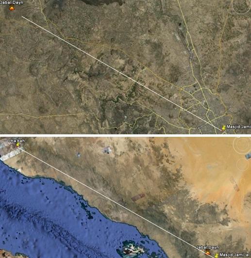 Visualisasi arah kiblat dari kota Sana'a, Yaman yang melewati gunung Dayn sesuai petunjuk Rasulullah saw. Visualisasi ini menggunakan Google Earth yang dibuat berdasarkan konsep bumi bulat bukan bumi datar.