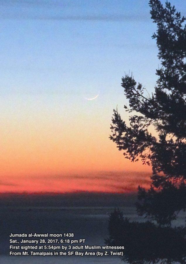 Bulan sabit muda 1 Jumadil Awwal 1438 H terlihat dari Amerika Serikat pada petang hari Sabtu, 28 Januari 2017. Dengan demikian 1 Jumadil Awwal 1438 H jatuh pada Ahad, 29 Januari 2017.