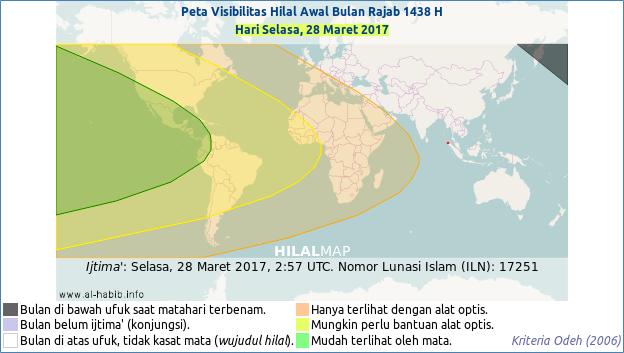 Hilal 1 Rajab 1438 H akan mudah disaksikan pada petang hari Selasa, 28 Maret 2017 di wilayah Amerika. (HilalMap)