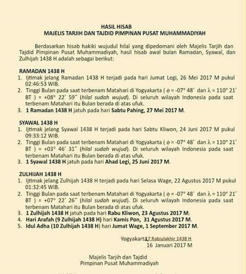 Maklumat Muhammadiyah: 1 Ramadhan 1438 H Jatuh Pada 27 Mei