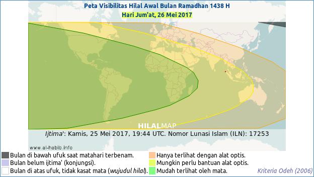 Peta kenampakan bulan sabit 1 Ramadhan 1438 H pada petang hari Jum'at, 26 Mei 2017. Sebagian besar wilayah dunia akan bisa menyaksikan hilal Ramadhan pada saat itu.