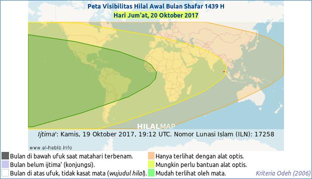 Peta visibilitas hilal Shafar 1439 H. Hanya wilayah Amerika yang bisa melihat bulan sabit 1 Shafar 1439 pada petang hari Jum'at, 20 Oktober 2017 dengan mata telanjang.
