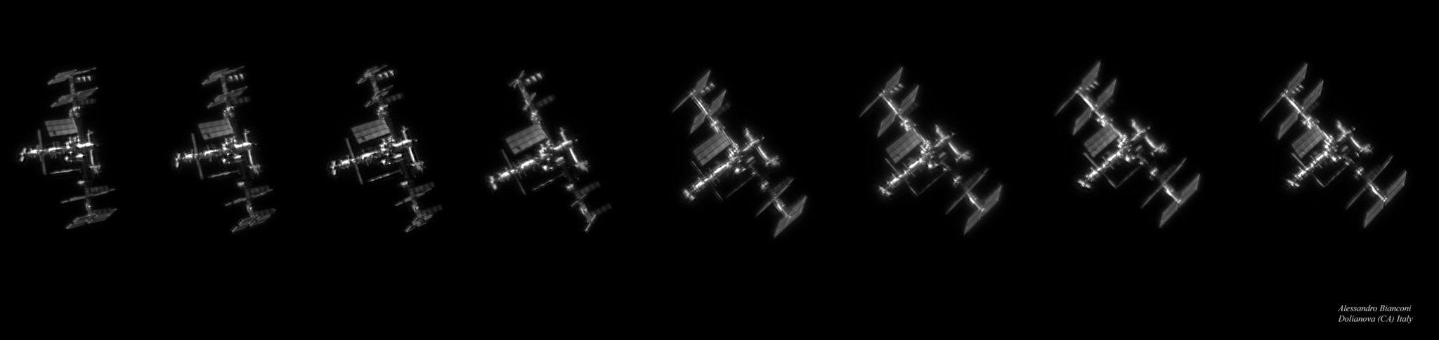 Foto ISS dari bumi dengan resolusi tinggi diambil oleh Alessandro Bianconi pada Oktober 2017. Bentuk ISS dan detilnya terlihatjelas dalam foto melalui teleskop dari bumi ini.