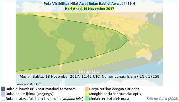 Peta Visibilitas Hilal Rabiul Awwal 1439 H pada hari Ahad, 19 November 2017. Hilal atau bulan sabit kemungkinan besar bisa dilihat hampir di seluruh dunia. Dengan demikian 1 Rabbiul Awwal 1439 H jatuh pada hari Senin, 20 November 2017 M.
