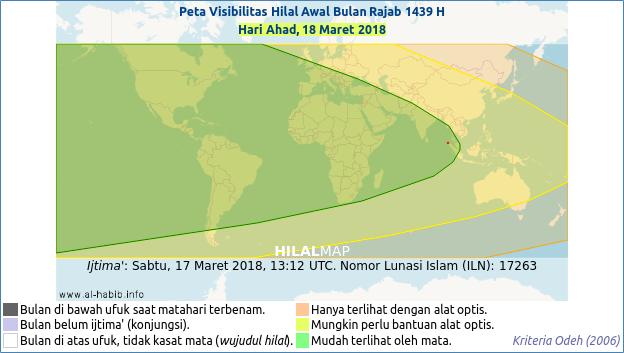 Peta visibilitas hilal Rajab 1439 H pada hari Ahad, 18 Maret 2018 M (HilalMap). Bulan sabit akan mudah dilihat diseluruh dunia pada hari Ahad. Dengan demikian 1 Rajab 1439 H bertepatan dengan hari Senin, 19 Maret 2018 M.