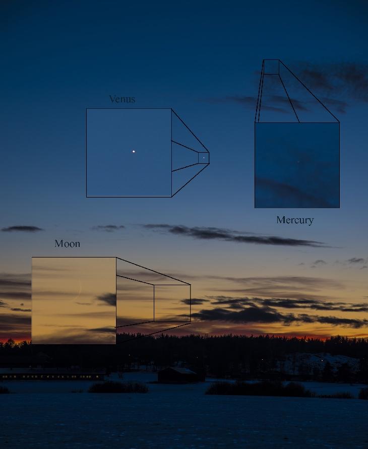 Crescent moon (hilaal) of 1 Rajab 1439 AH seen from Finlandia on Sunday evening.