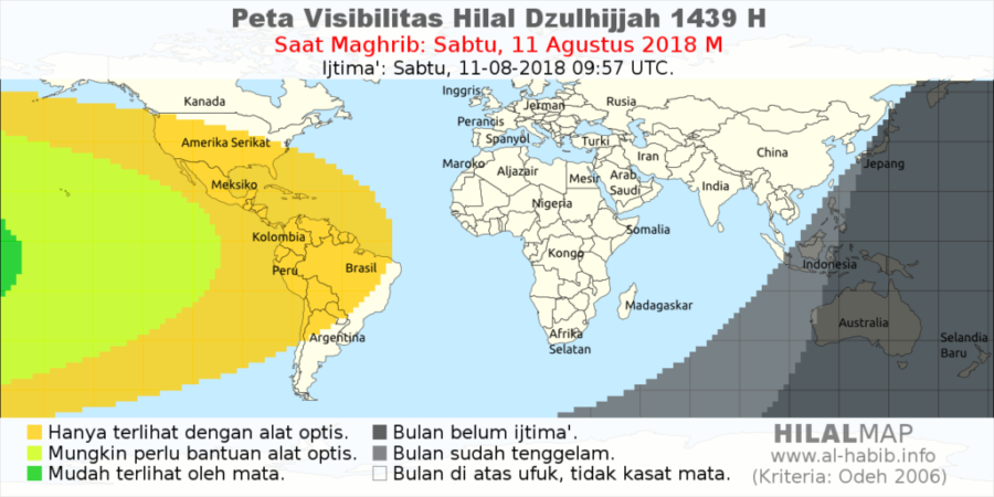 Pada hari Sabtu, 11 Agustus 2018, bulan sabit tidak akan bisa terlihat dengan mata telanjang dari sebagian besar wilayah dunia.