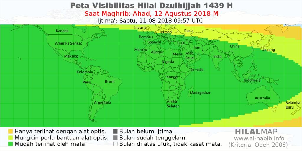 HilalMap - Peta Visibilitas Hilal (Bulan Sabit) Dzulhijjah 1439 H pada hari Ahad, 12 Agustus 2018. Bulan sabit akan dengan mudah dilihat di hampir seluruh dunia (arsir hijau).