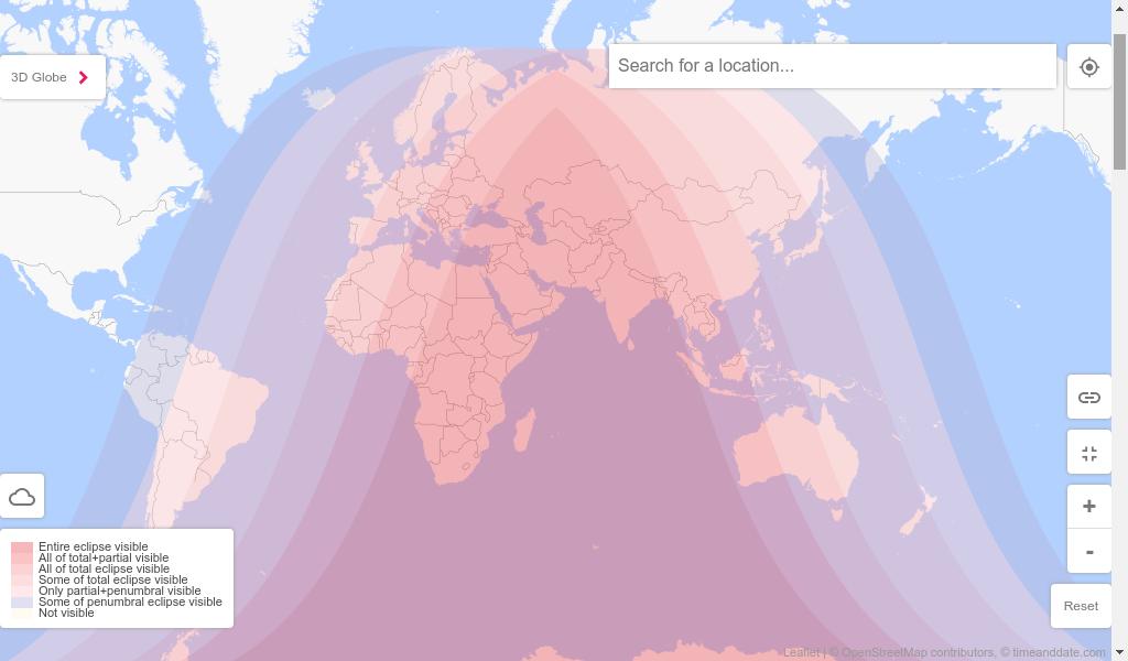 Peta wilayah dunia yang bisa menyaksikan gerhana bulan total pada malam hari tanggal 27-28 Juli 2018.