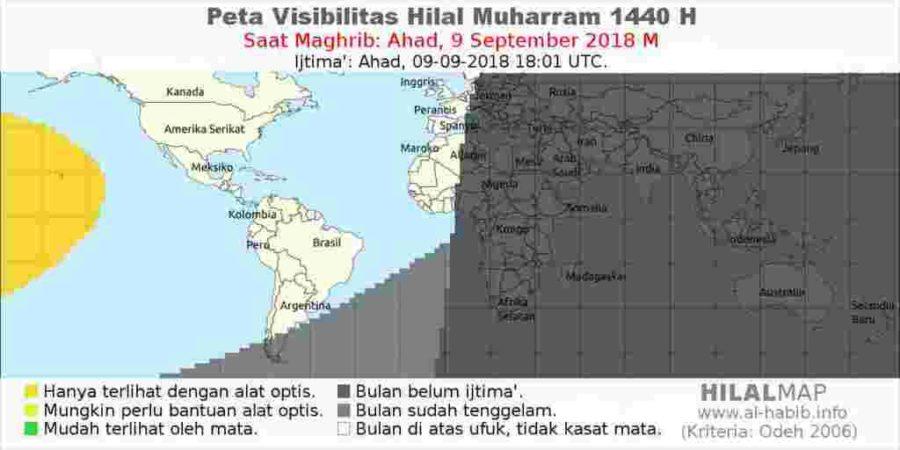 Pada hari Ahad, 9 September 2018, bulan sabit tak akan bisa di-rukyat di hampir seluruh wilayah dunia. (HilalMap)