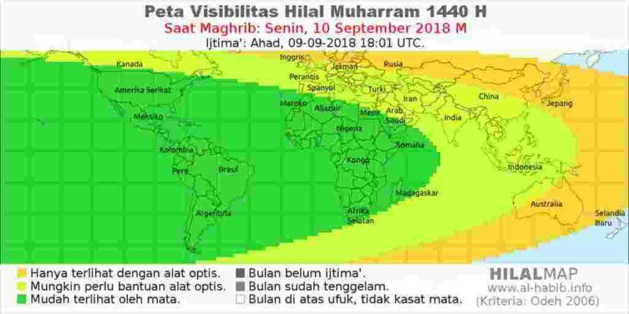 Peta keterlihatan hilal Muharram 1440 pada hari Senin, 10 September 2018 M. Hampir semua wilayah dunia akan bisa melihat hilal.