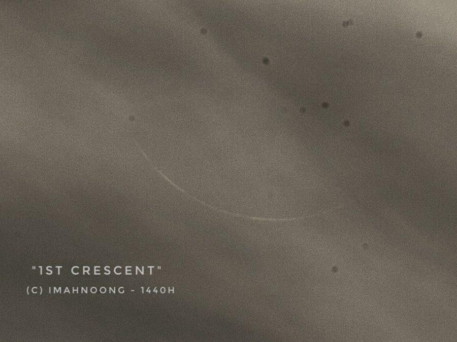 Foto bulan sabit (hilal) 1 Muharam 1440 terlihat dari Bandung pada petang hari Senin, 10 September 2018 melalui teropong. (Imahnoong, Hendro Setyanto)