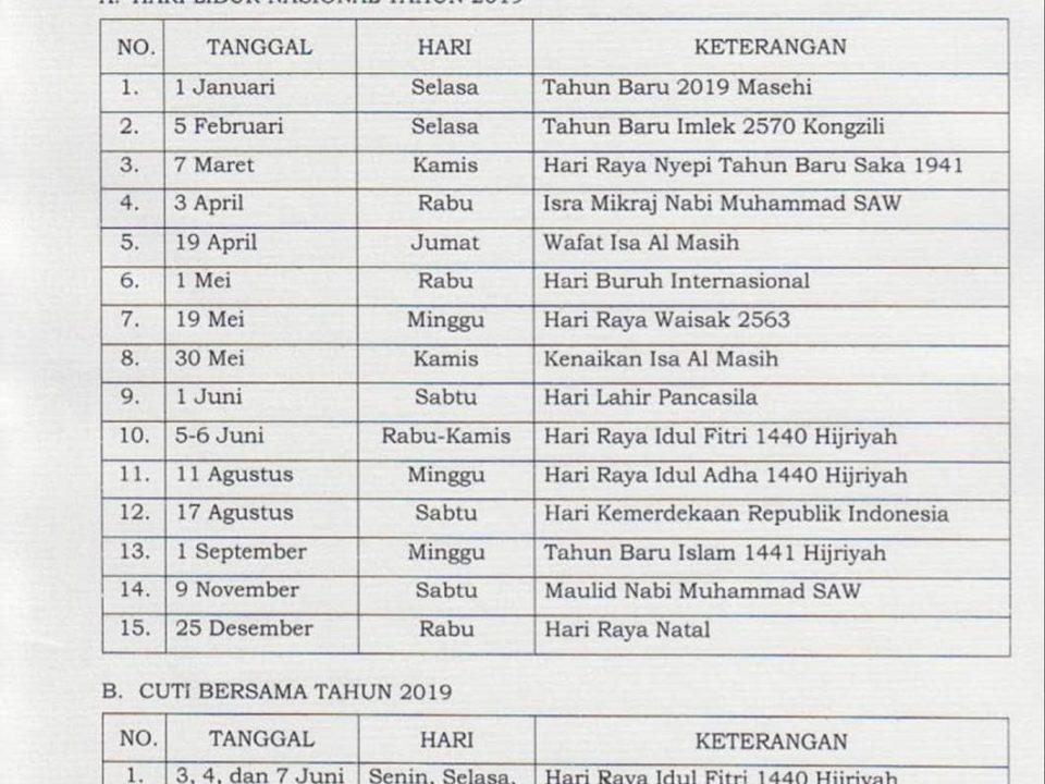 SKB Libur Nasional & Cuti Bersama 2019