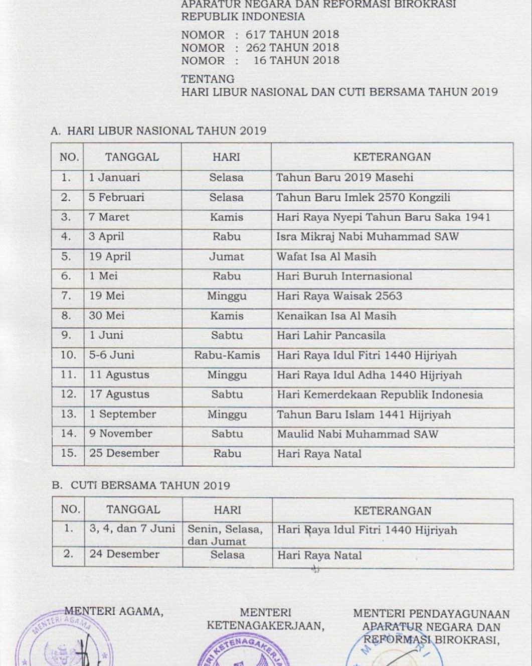 SKB Libur Nasional Cuti Bersama 2019
