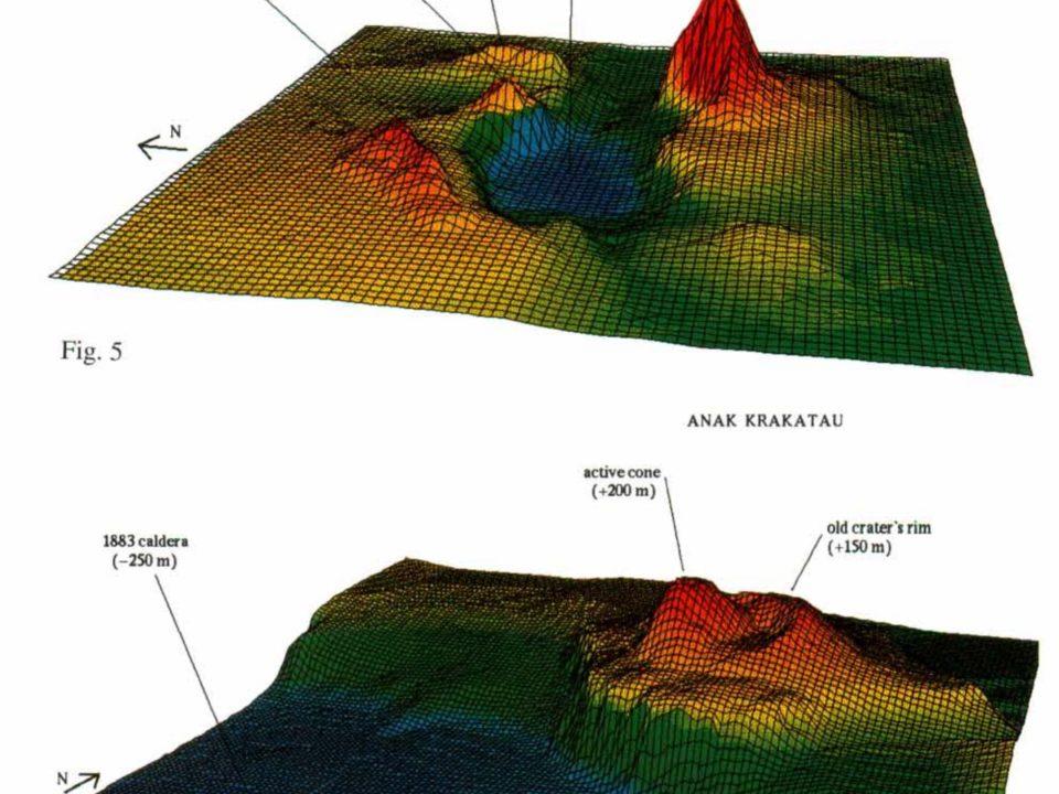 Peta topologi gunung Anak Krakatau yang menunjukkan kecuraman lereng gunung yang rentan terhadap longsor yang berpotensi memicu tsunami.