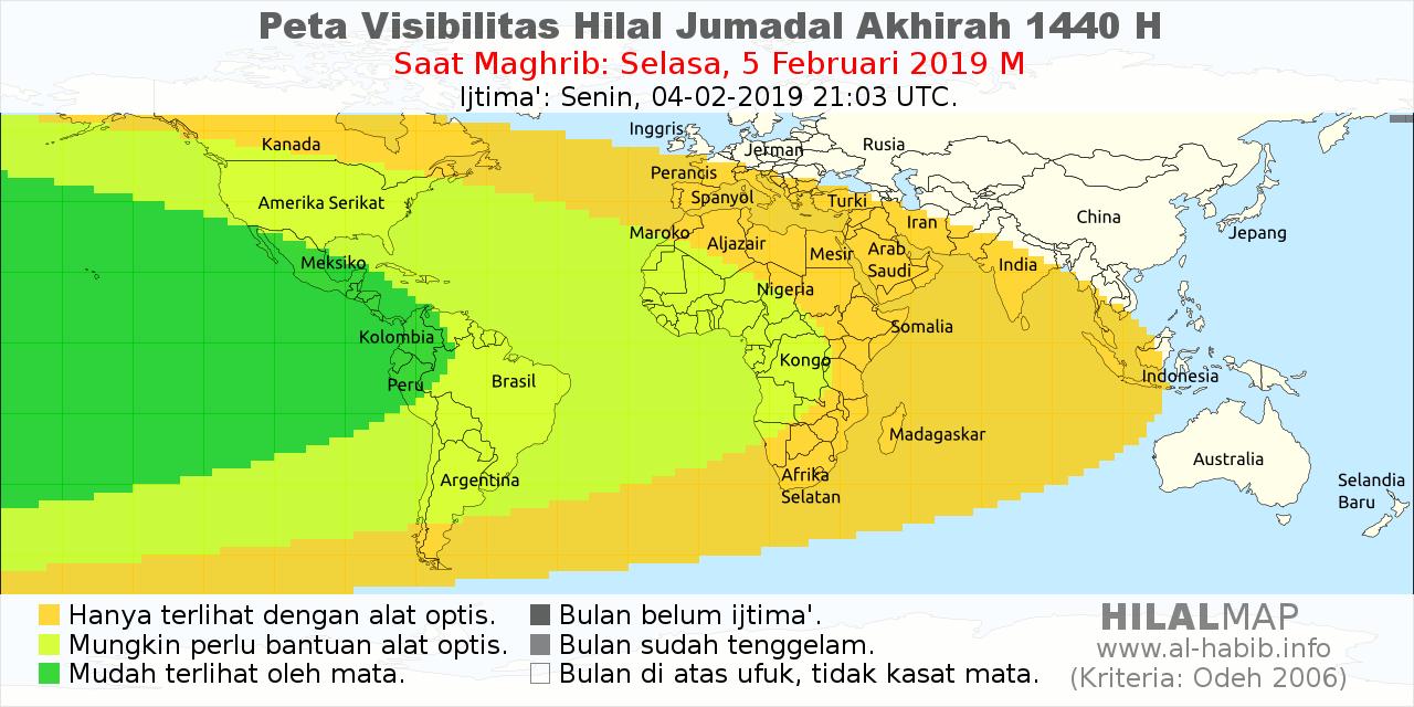 Peta visibilitas hilal Jumadal Akhirah 1440 H pada petang hari Selasa, 5 Februari 2019. Hanya wilayah Amerika Serikat dan sekitarnya yang mempunyai kemungkinan lebih besar untuk melihat hilal. Wilayah lain tidak bisa.