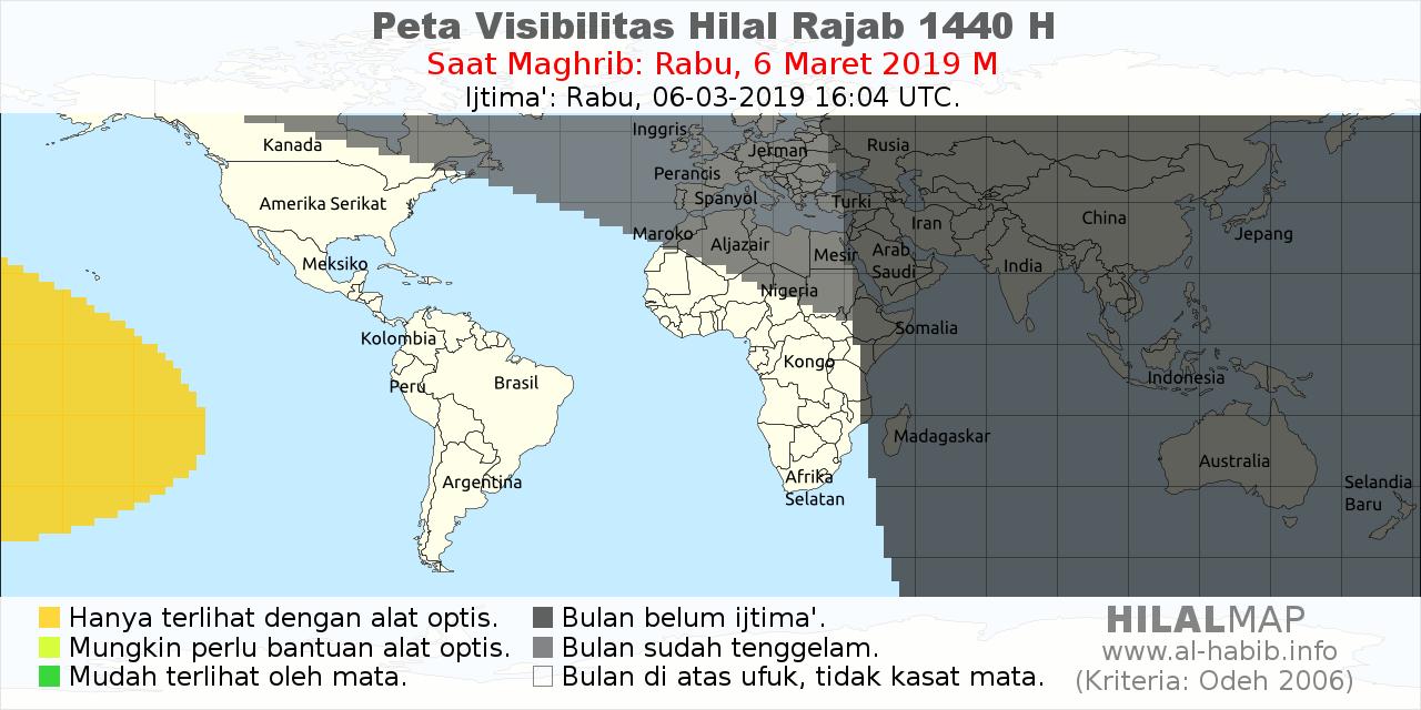 Peta Visibilitas Bulan Sabit Rajab 1440 H pada hari Rabu, 6 Maret 2019. Bulan sabit tidak terlihat di sebagian besar dunia.