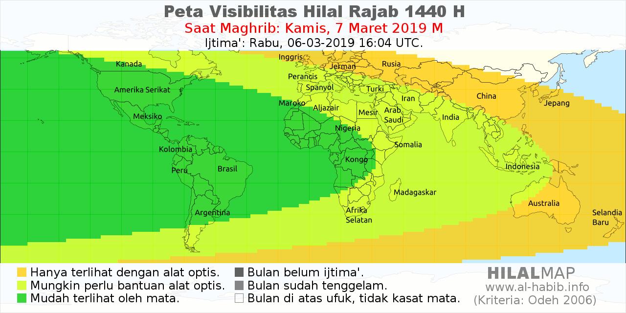 Peta Visibilitas Bulan Sabit Rajab 1440 H pada hari Kamis, 7 Maret 2019. Bulan sabit 1 Rajab 1440 H akan mudah dilihat di sebagian besar wilayah dunia.