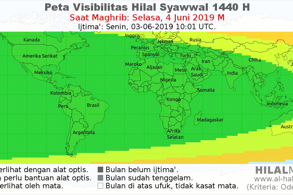Peta visibilitas hilal Syawal 1440 pada hari Selasa, 4 Juni 2019