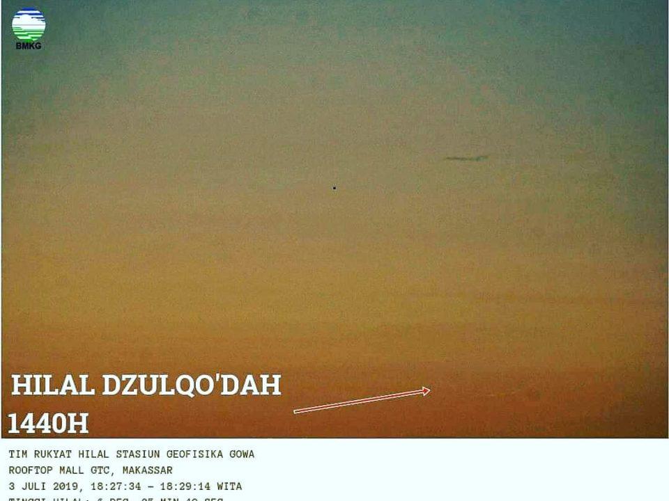 Tim BMKG berhasil menangkap citra hilal 1 Dzulqaidah 1440 H melalui teleskop pada petang hari Rabu, 3 Juli 2019.