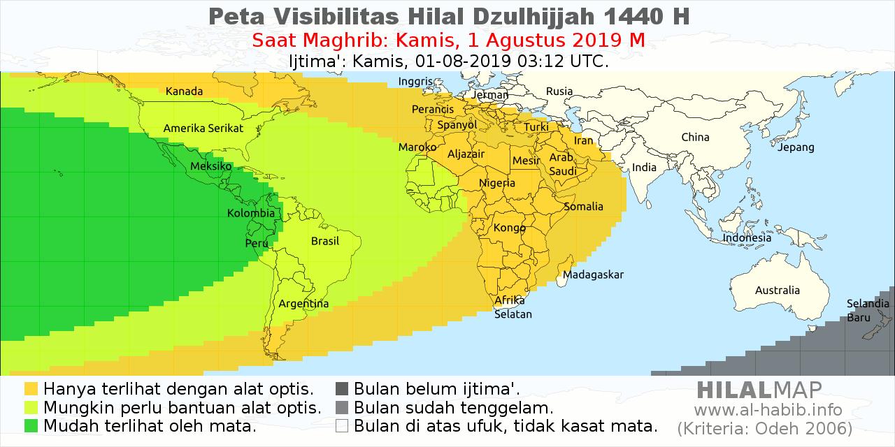 peta visibilitas hilal Dzulhijjah 1440 H