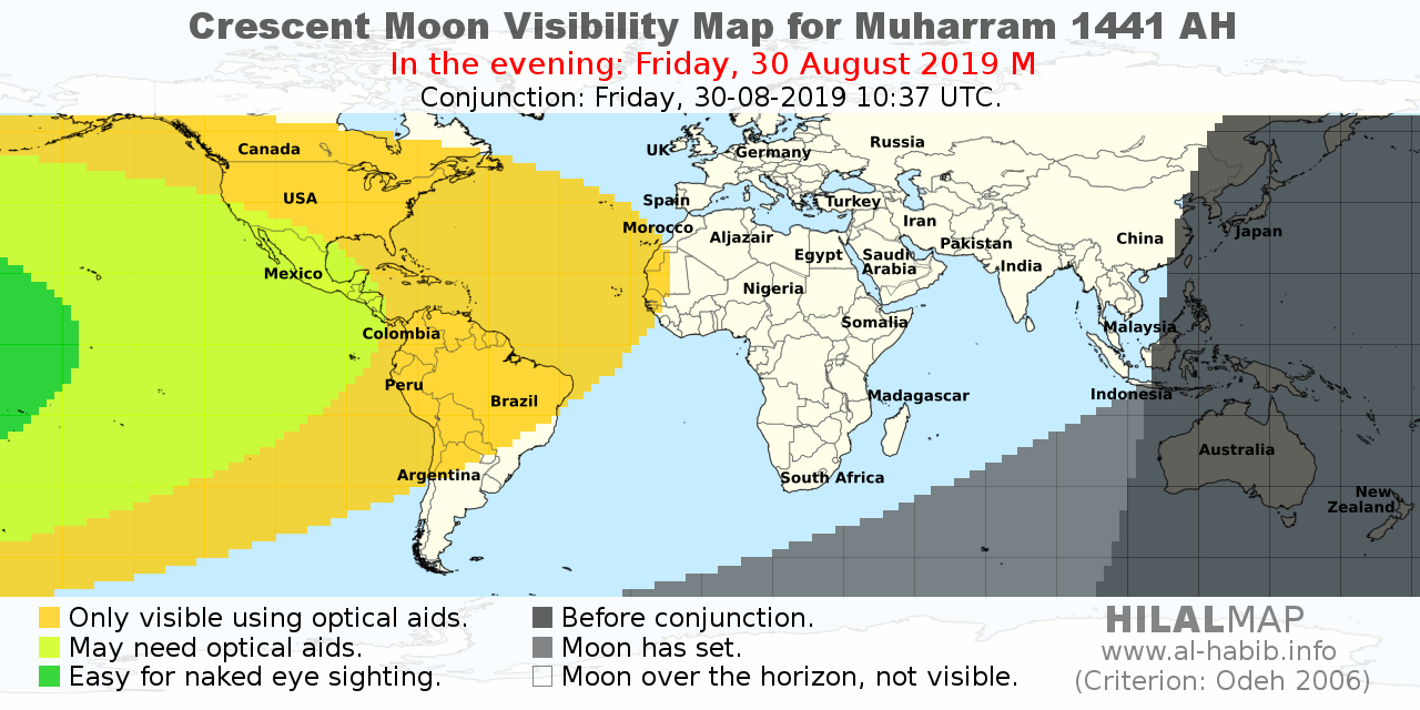 HilalMap: Crescent moon visibility map for Muharram 1441 on the evening of Friday, 30 August 2019. Naked-eye sighting is not expected for most part of the world.