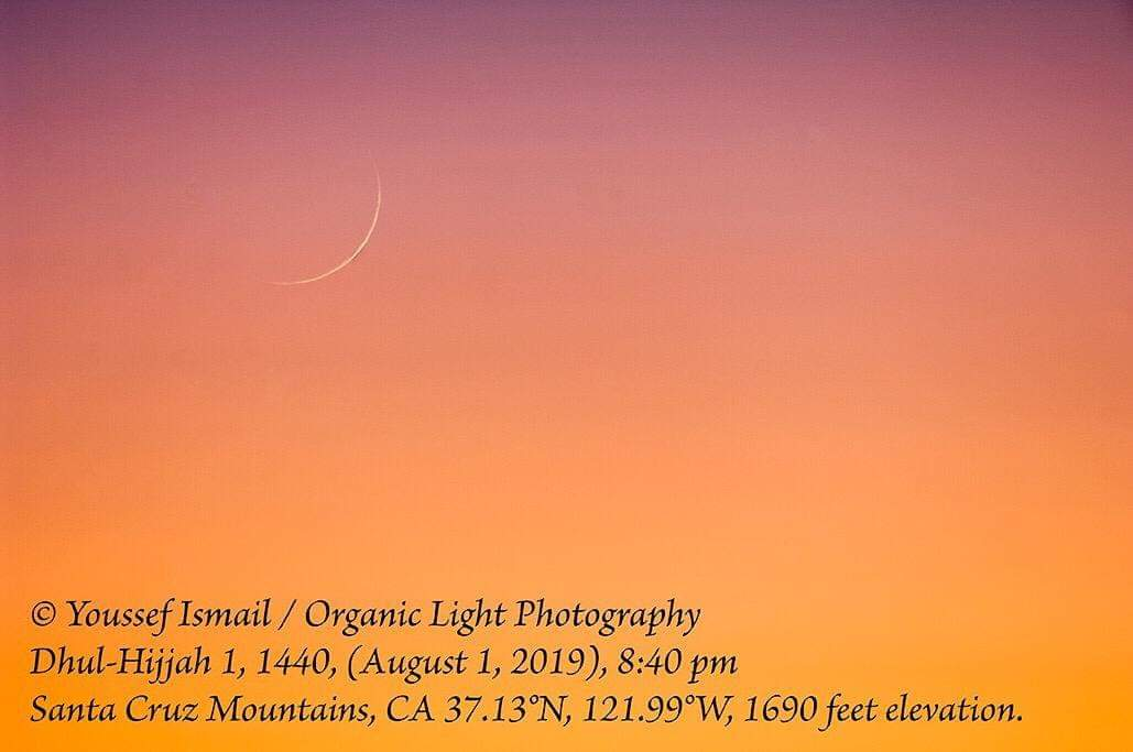 Crescent moon of 1 Dhul-Hijja 1440 AH as photographed from California, USA, on Thursday, 1 August 2019. © Youssef Ismail