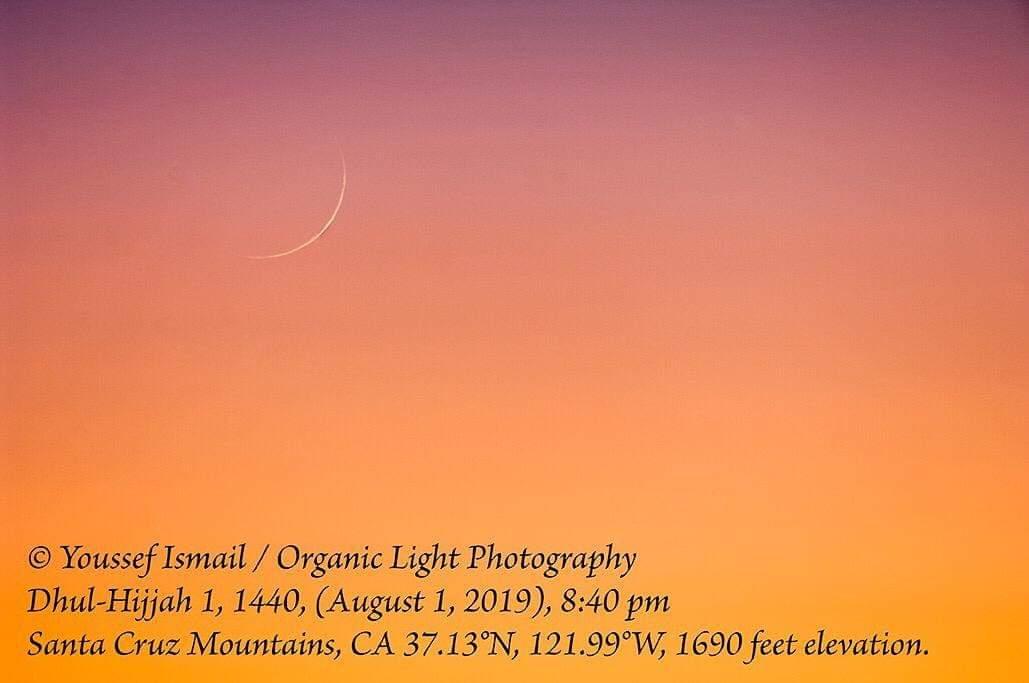 Foto bulan sabit 1 Dzulhijjah 1440 H dari Kalifornia, Amerika Serikat pada Kamis, 1 Agustus 2019 oleh Youssef Ismail.