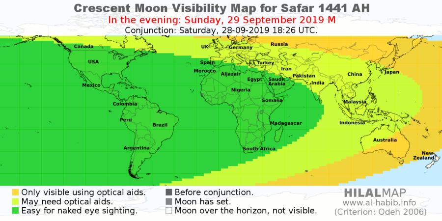 Crescent visibility map for Safar 1441 AH