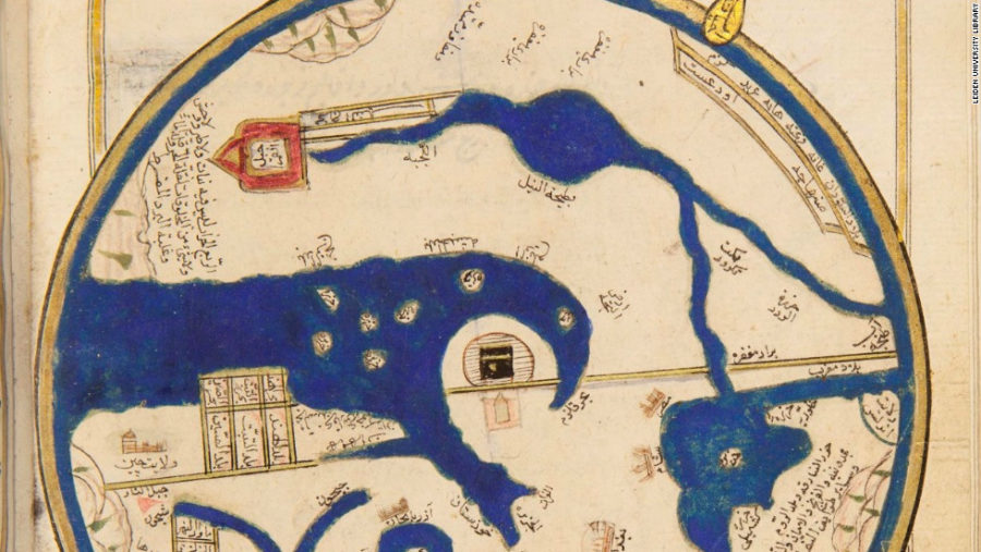 Peta kuno jaman Turki Utsmaniyah yang menempatkan Ka'bah di Mekah di tengah-tengah bola bumi.