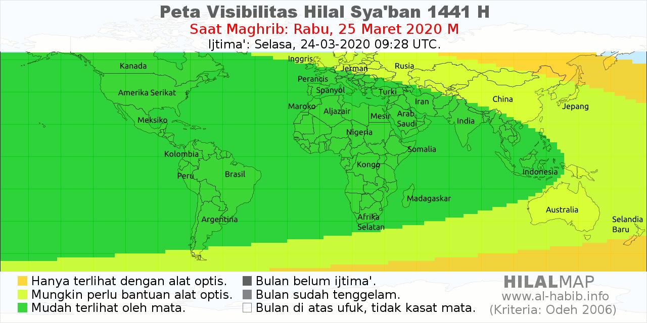 Peta visibilitas hilal Sya'ban 1441 H pada hari Rabu, 25 Maret 2020 M.